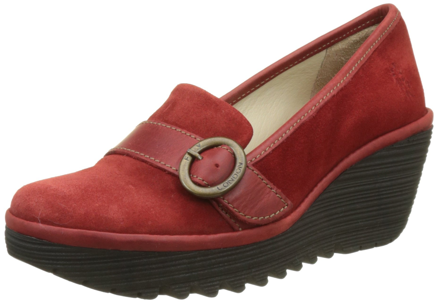 FLY London Women's YOND771FLY Loafer, Red Oil Suede/Rug, 41 M EU (10-10.5 US)