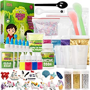 Slime Kit for Girls and Boys - The Ultimate 56 Piece Slime Kit Slime Supplies Includes Non-Borax Slime Glue, Slime Scents, Slime Add Ins, and Other Slime Ingredients