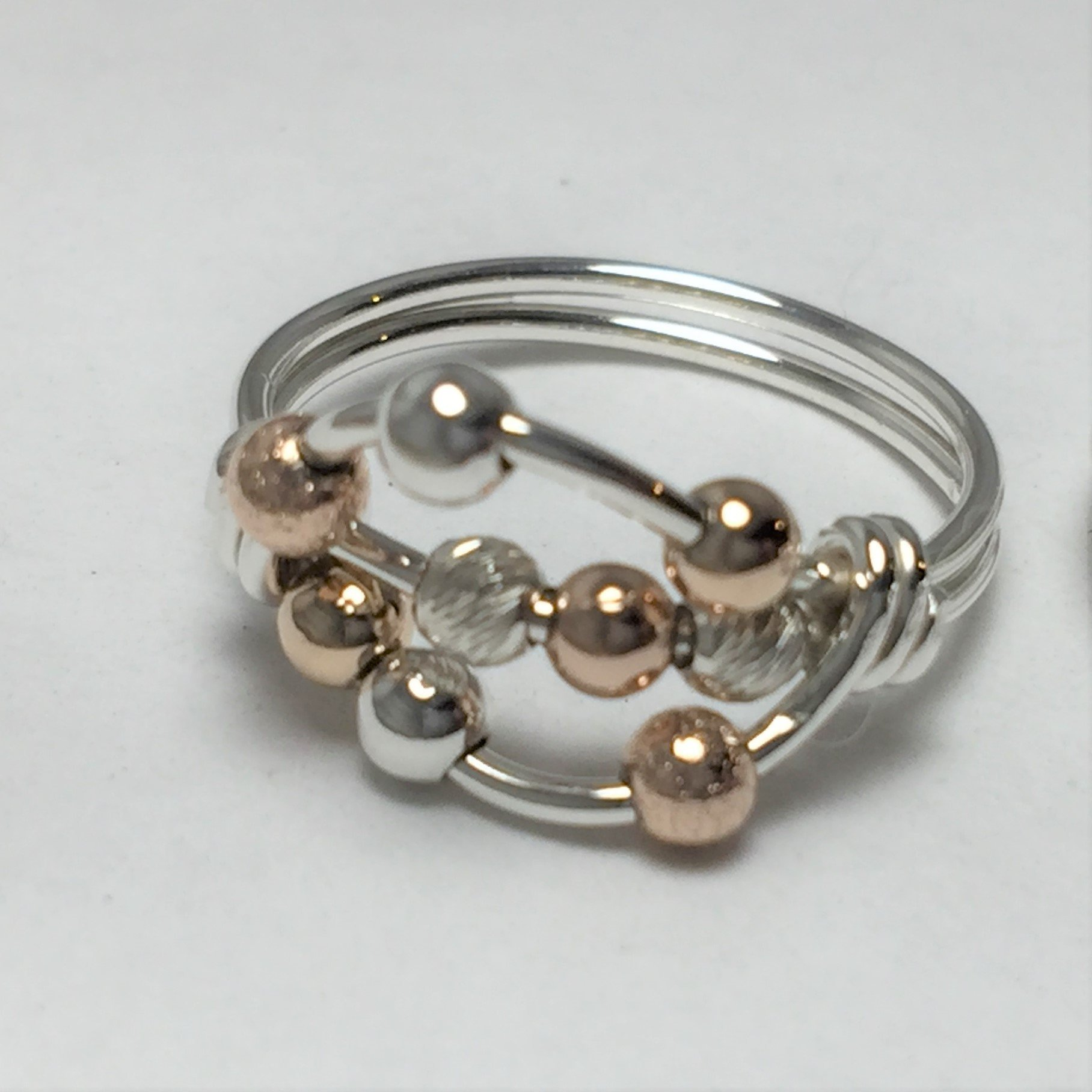 Worry ring, anxiety ring, spinner ring, bead ring, argentium silver, 14kt yellow or rose gold fill