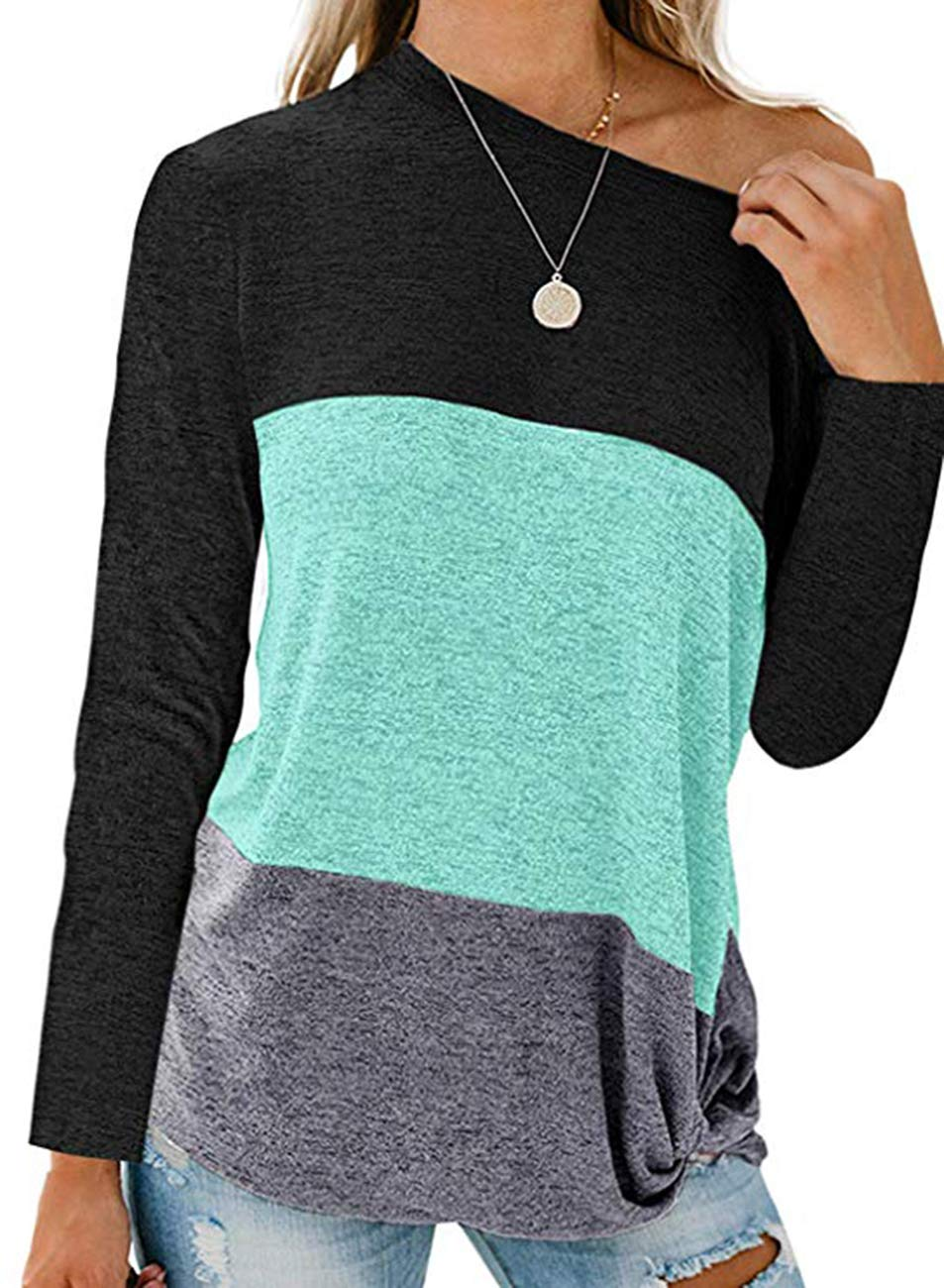 Womens Long Sleeve Color Block Striped Tee Shirts Casual Loose Twist Knot Loose Tee Tops Blouse (X-Large, Black Green) by Huange