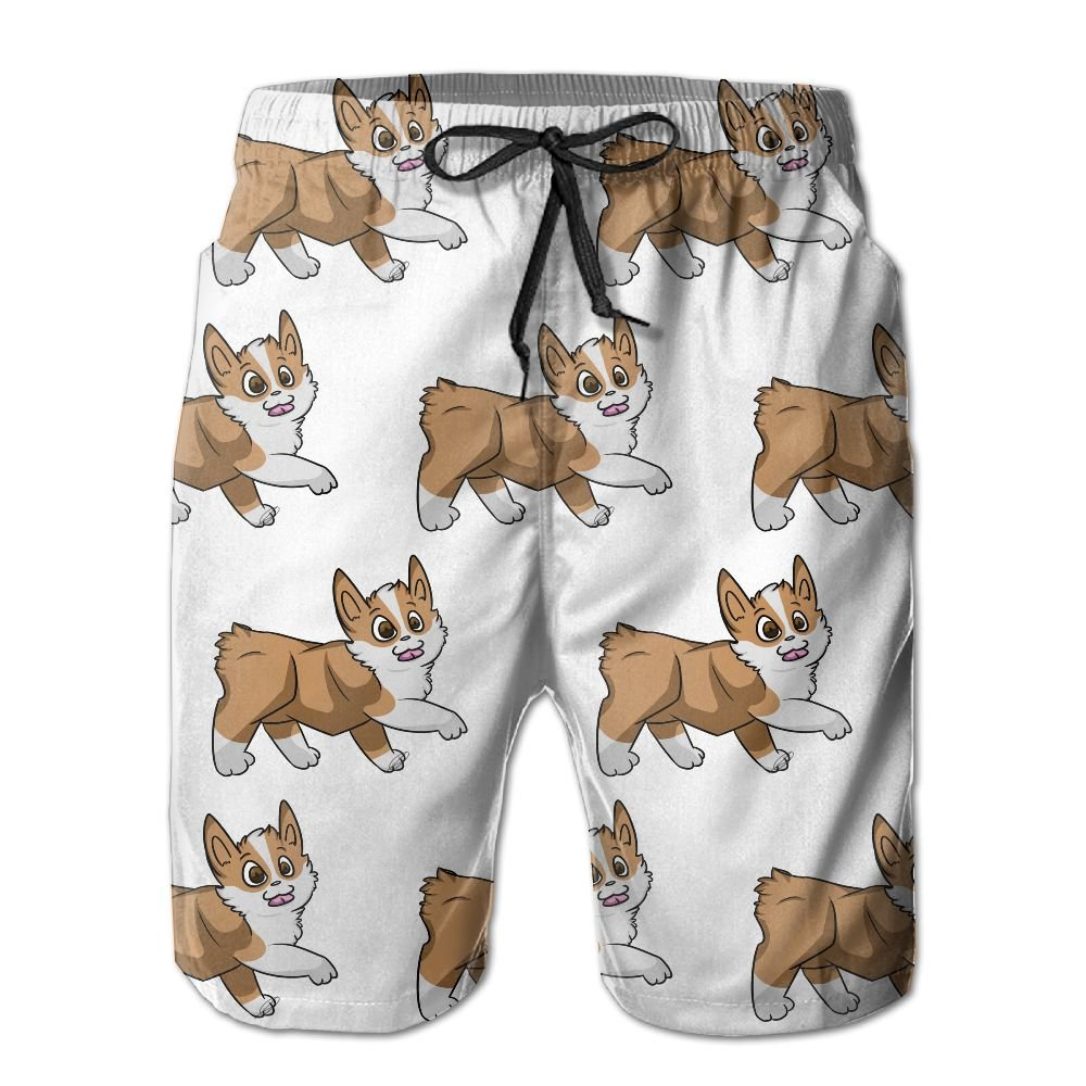 GYang Mens Beach Shorts Corgi Summer Printed Swim Breathable Quick-Drying Shorts Swim Trunks Boardshorts