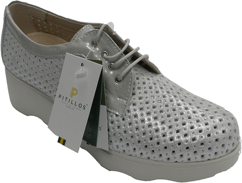 Zapato Deportivo Mujer Calado con Cordones Plateado Pitillos en Metalizado