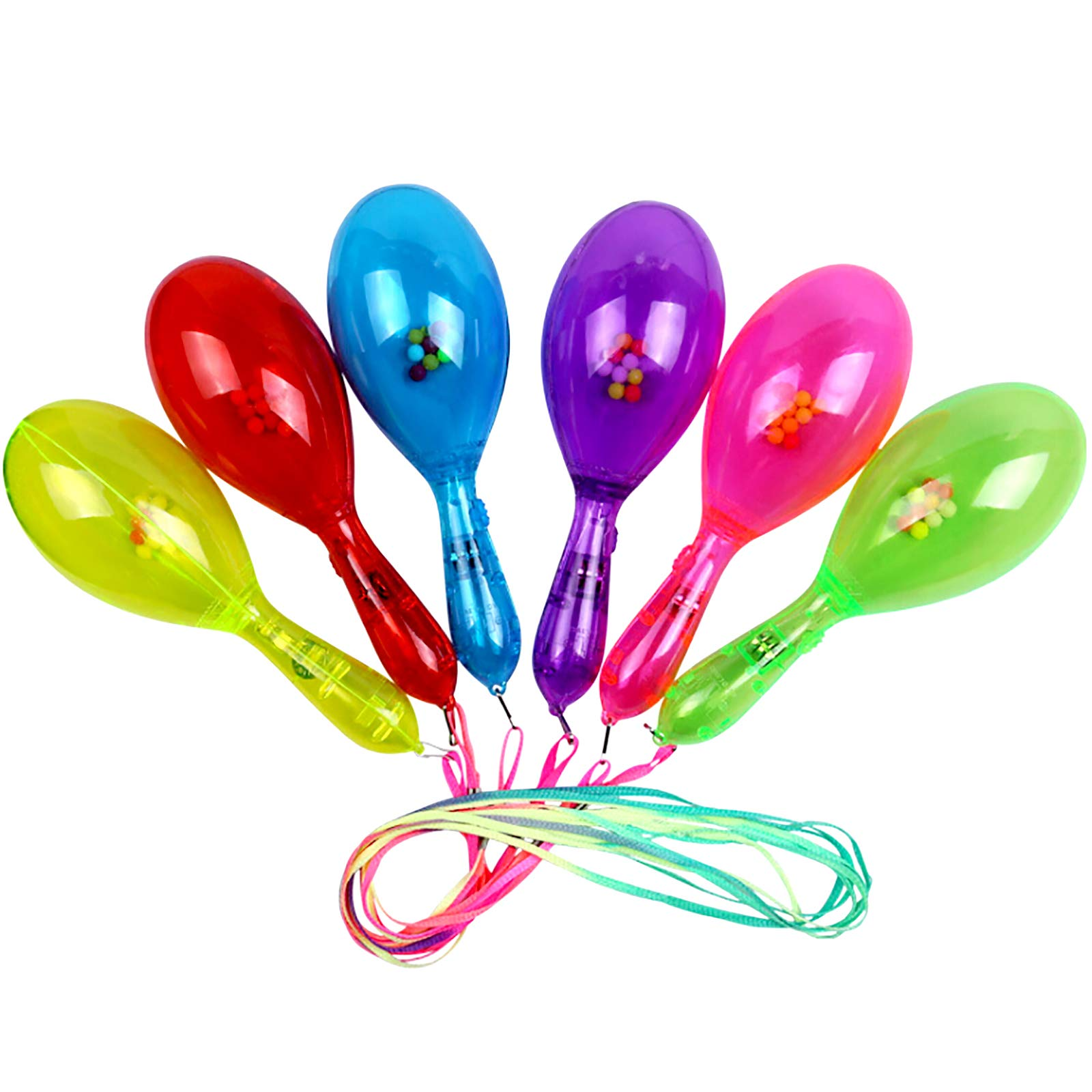 Fansport 12PCS Party Rattle Creative LED Glowing Cheering Plastic Maraca Musical Toy Wedding Party Favor with Lanyard for Kids