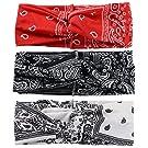 SERWOO 3 Stück Stirnband Damen Kopfband Haarband Turban Elastische Weiche Stirnband Blume Muster bedruckt Verdreht Baumwolle für Alltag Yoga Sport Fitness