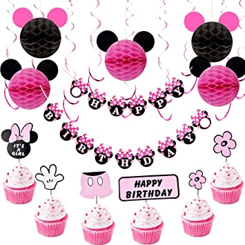 Minnie Mouse Birthday Decorations for Girls with Pink Hanging Swirls, Minnie Ears Honeycomb...