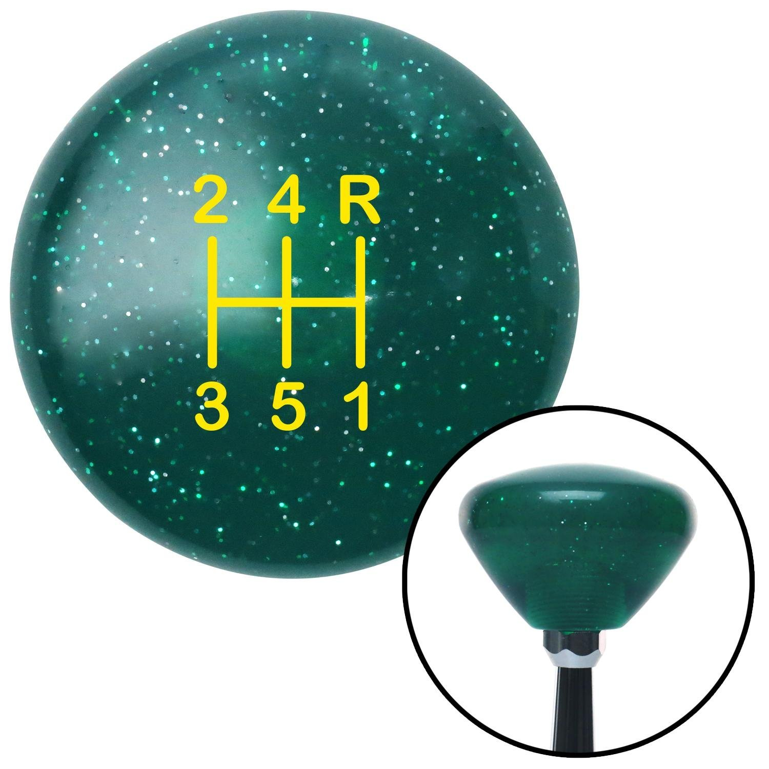Yellow Shift Pattern 47n American Shifter 208730 Green Retro Metal Flake Shift Knob with M16 x 1.5 Insert