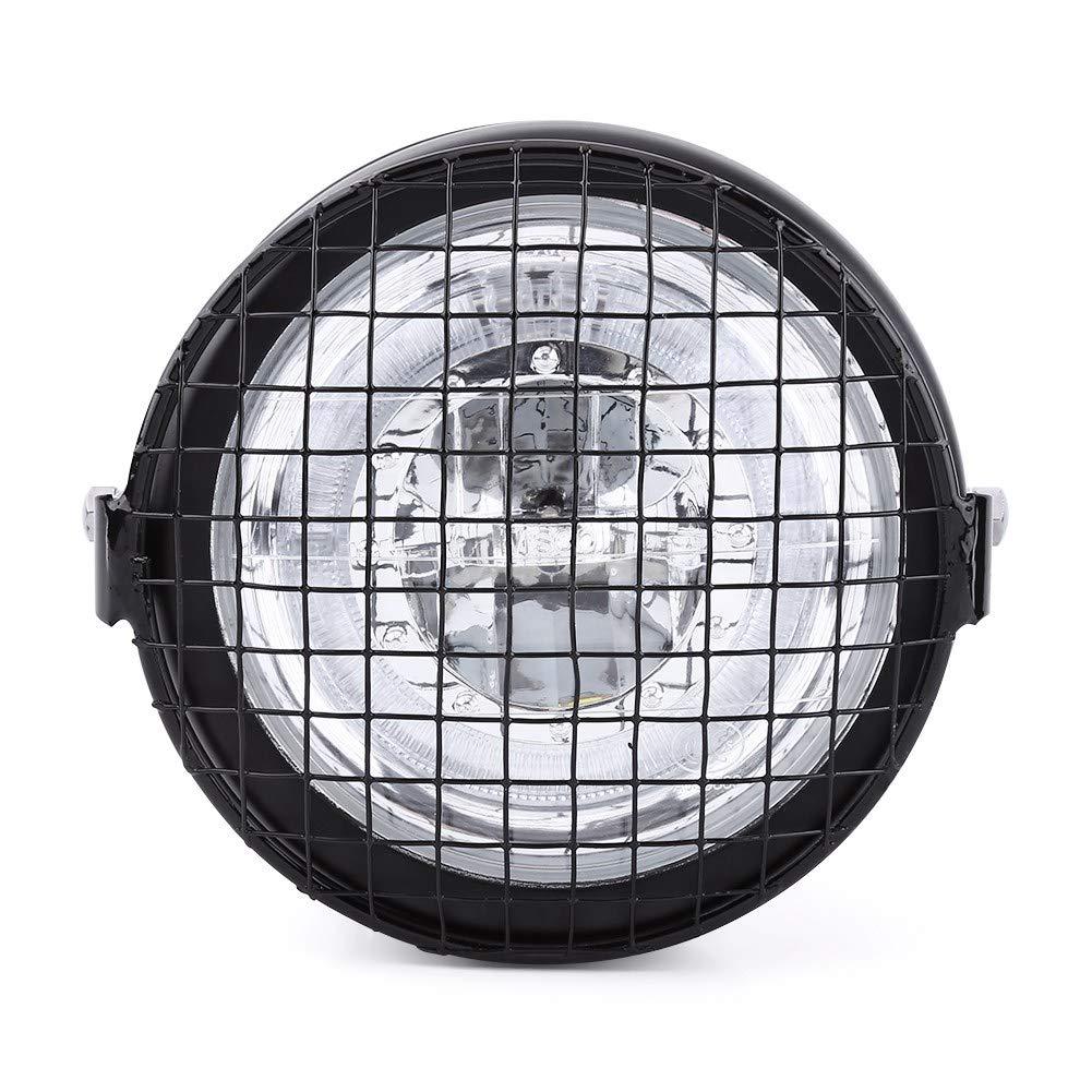 Faro a LED per moto 6.5Universal Motorcycle High Brightness Fari a LED Proiettore con griglia metallica Coperchio di montaggio laterale e staffa