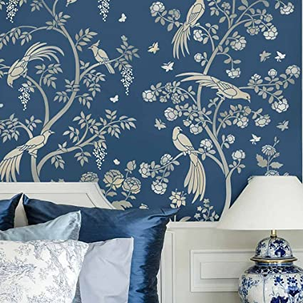 Bon Birds And Roses Chinoiserie Wall Mural Stencil   DIY Asian Garden Decor    Reusable Stencils For