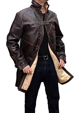 Wd Mens Distressed Brown Leather Trench Coat Xs