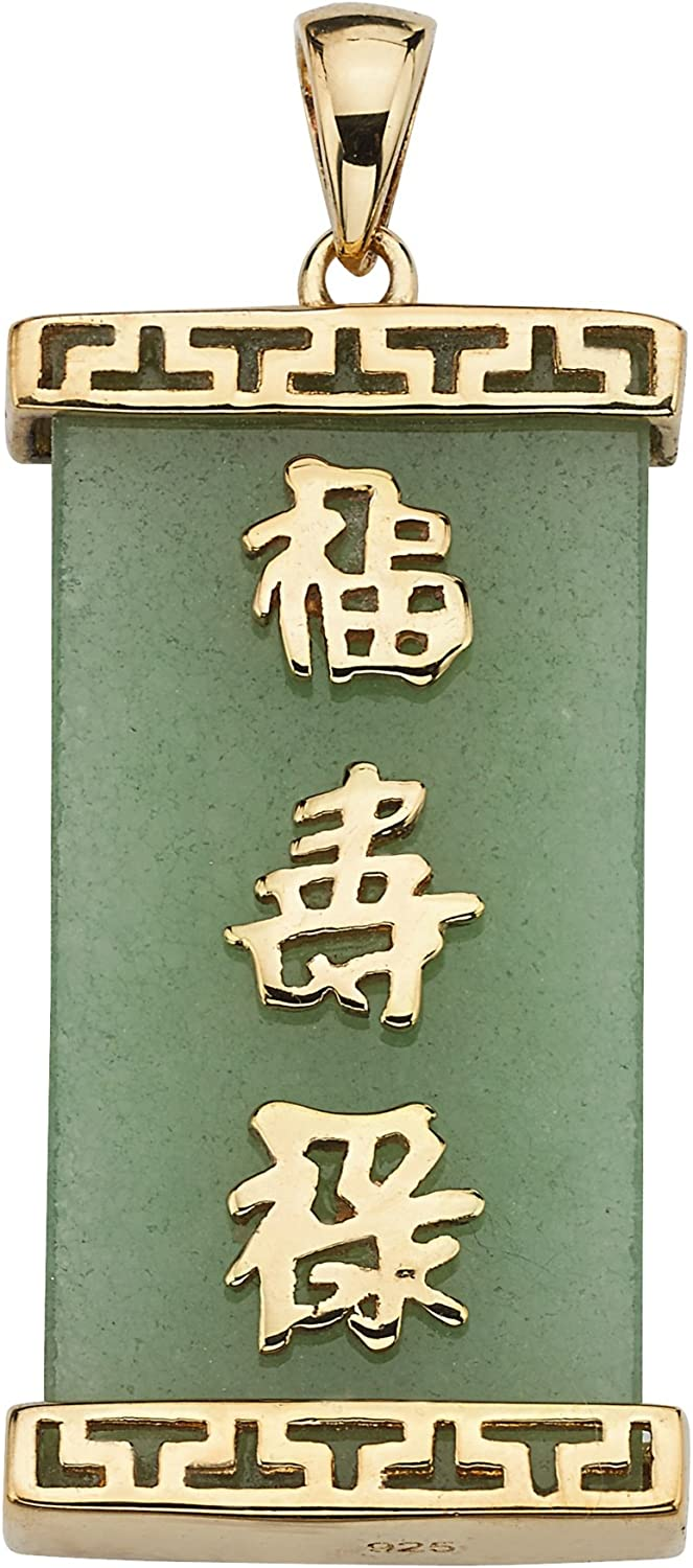Gold Tone over Sterling Silver Genuine Green Jade Good Luck Prosperity and Long Life Charm Pendant