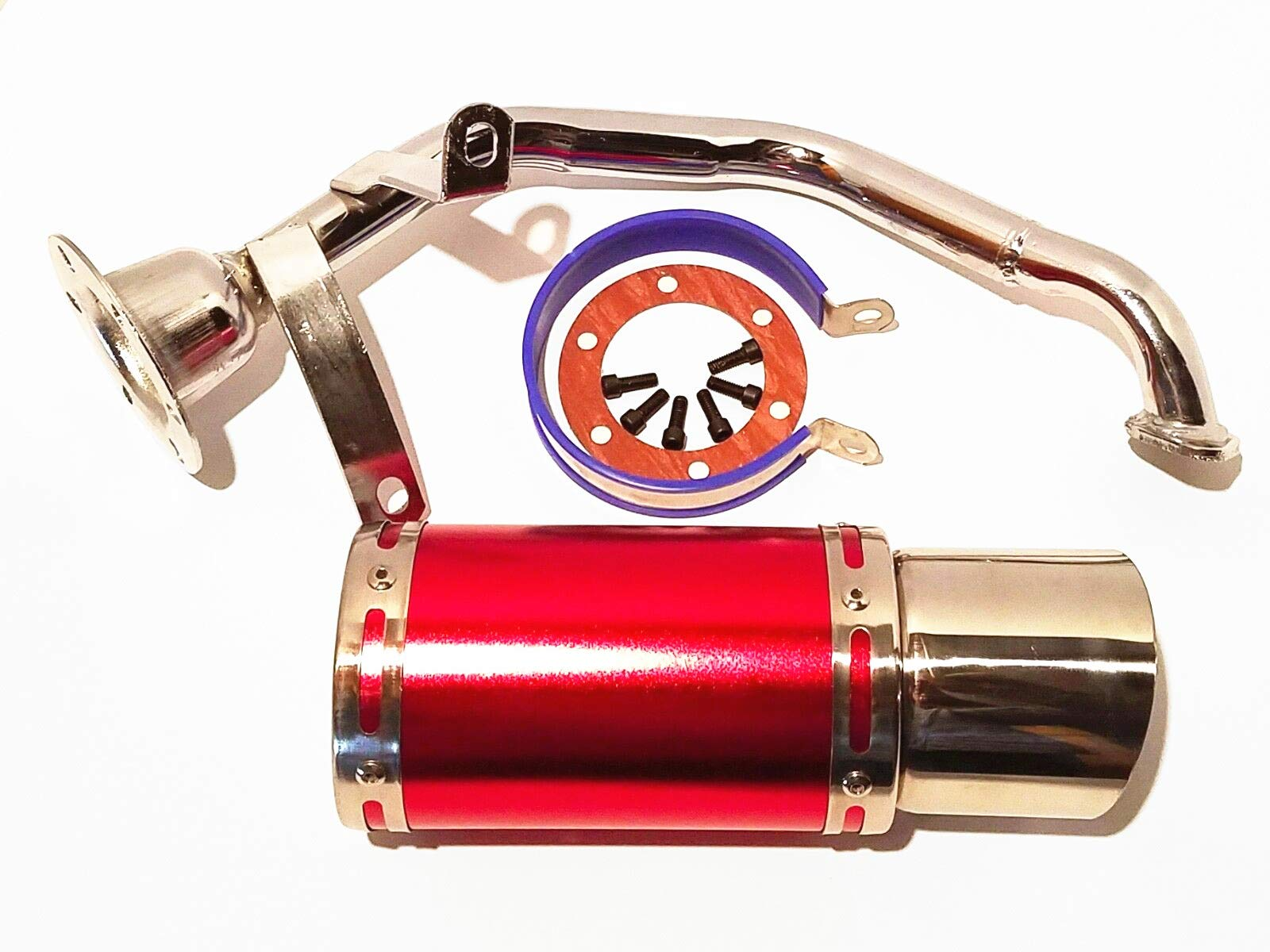 GY6 49cc 50cc 7-inch High Performance Racing Exhaust Muffler System 139QMA 139QMB Scooter Moped ATV Go Kart Red by Qauick