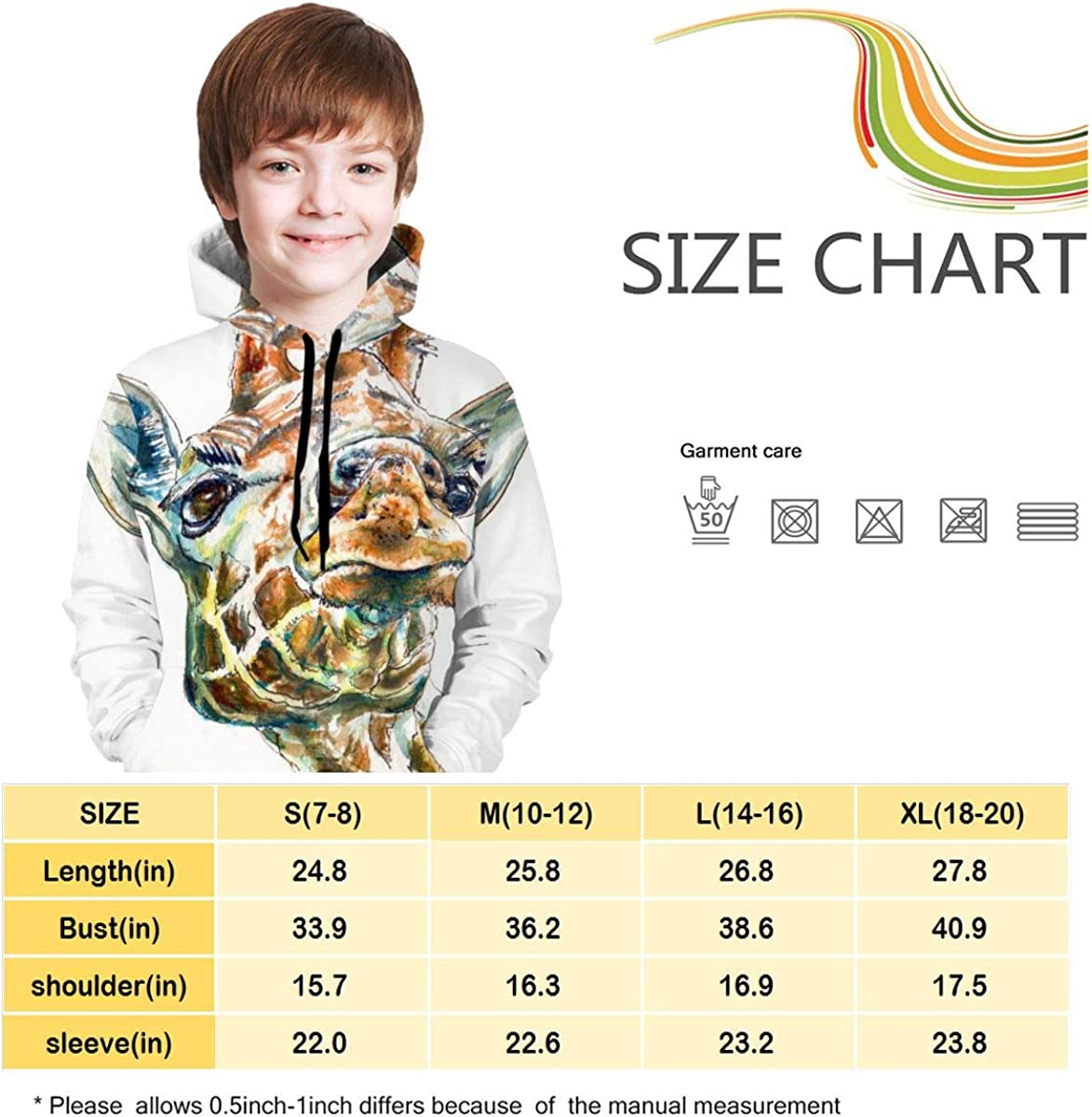 Youth Hoodie Sweatshirt Funny Giraffe Realistic 3D Digital Printed Pullover Tops for Boys Girls 7-20 Years