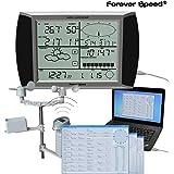 Forever Speed solar Estación meteorológica Inalámbrica Estación meteorológica Termómetro Higrómetro, Velocidad del viento, precipitación, dirección del viento, Digital Pantalla táctil USB Software