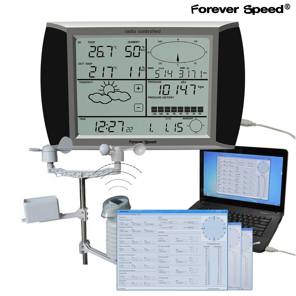 Forever Speed Estaci/ón Meteorol/ógica Inal/ámbrica Pron/óstico del Tiempo Term/ómetro Higr/ómetro Digital Pantalla t/áctil USB Software