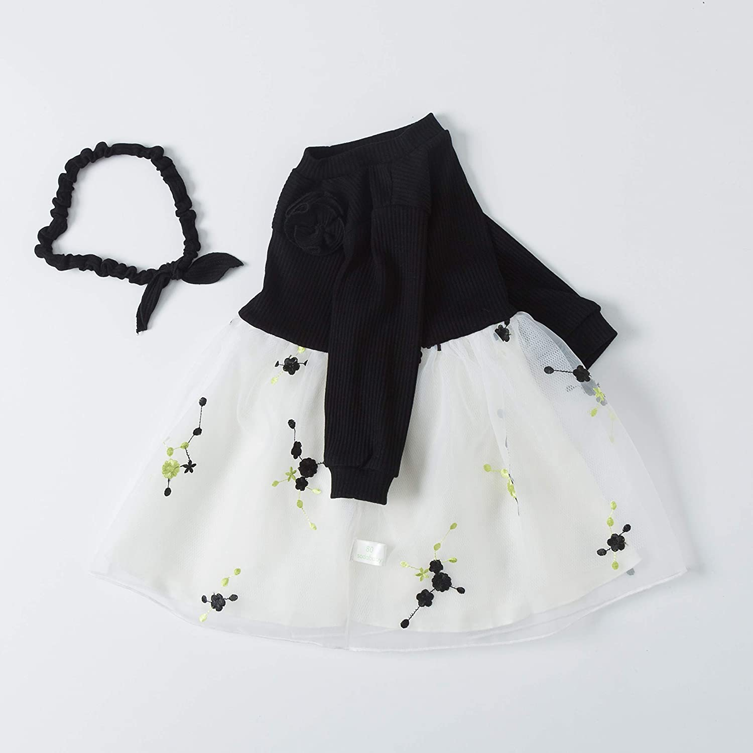 Baby Girl Clothes 0-3 Months Newborn Outfits Lace Tutu Dresses Outfit with Headband for Infant