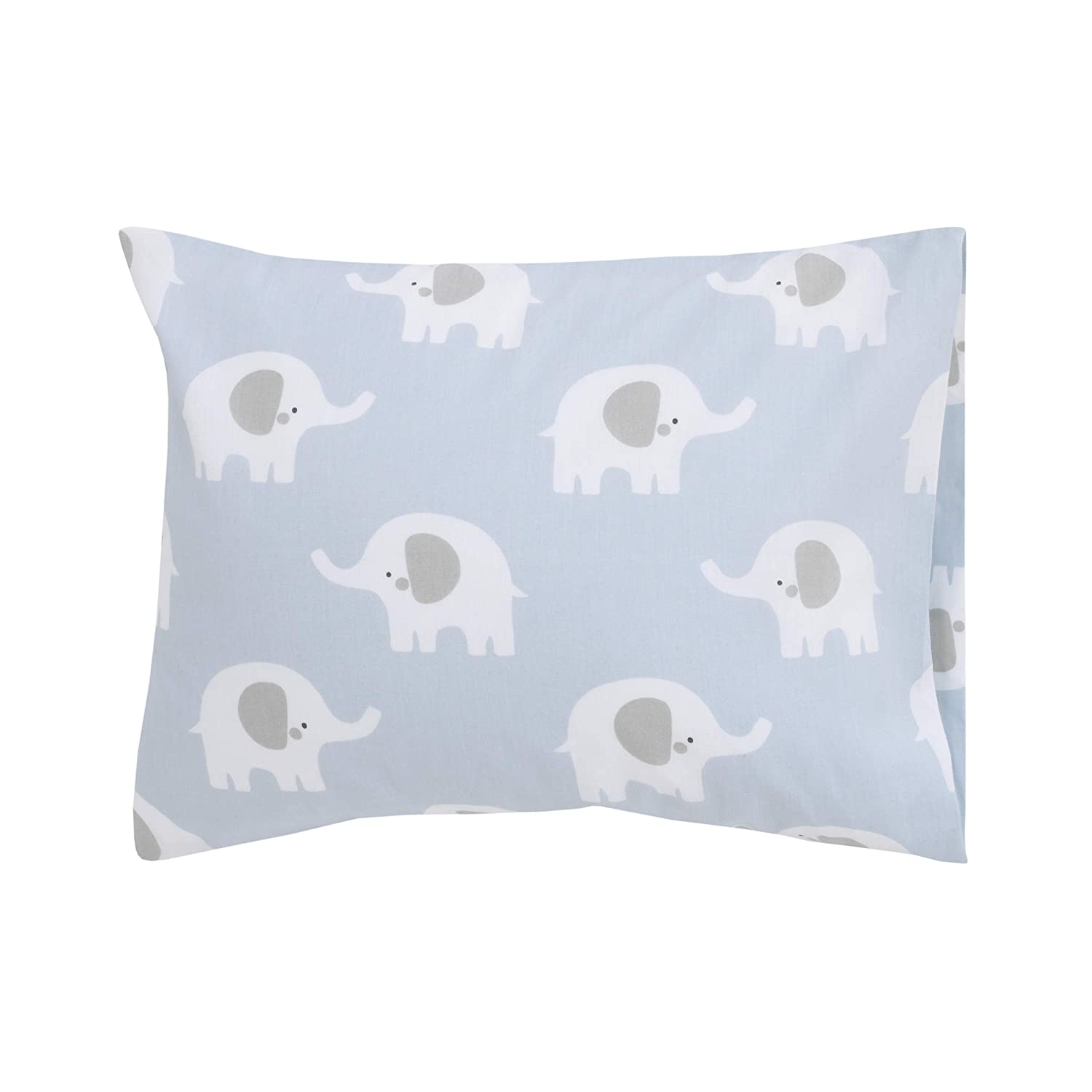 "Sumersault Soft Toddler Travel Pillow Set - Blue and Grey Elephants 13"" x 10"" x 4.5"" Pillow and Pillowcase Extra Soft Yet Supportive Perfect for Cars, Airplanes, Strollers or Any Travel"