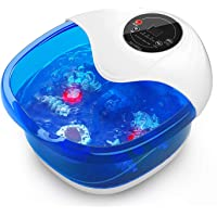 Foot Spa Foot Soaking Bath Basin Foot Bath Massager with Heat Bubbles Vibration and Auto Shut-Off; 4 Massage Rollers and…