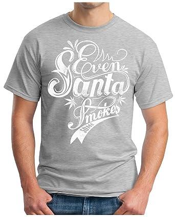 OM3 - EVEN-SANTA-SMOKES - T-Shirt GEEK, S, Grau