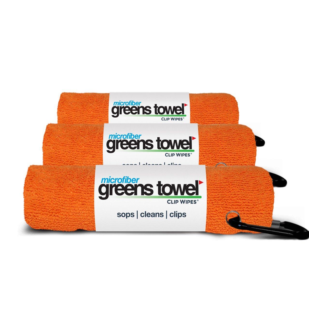 Greens Towel Microfiber, 3 Pack of Orange Crush 16'' x 16'', Carabiner Clip by Greens Towel