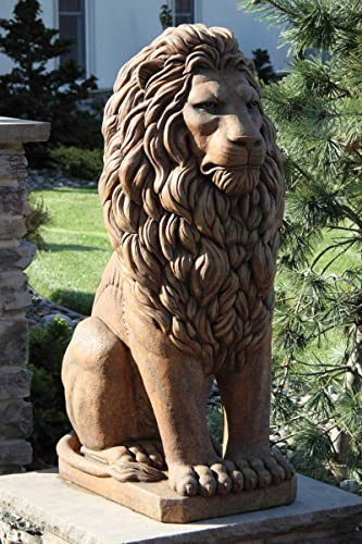 Potteryland Online 48″ Grandessa Sitting Lion Outdoor Concrete Lion Statue