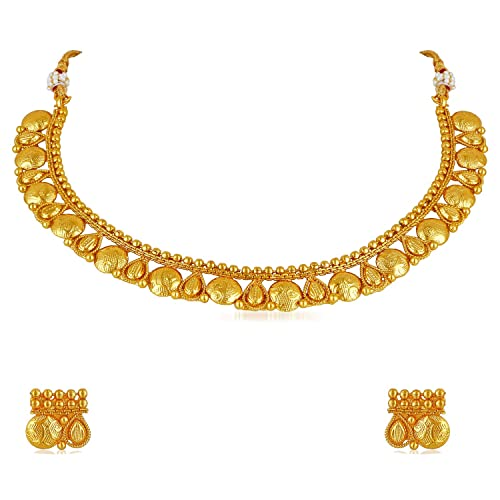 0b5e41952e6b86 Buy Meenaz Traditional One Gram Pearl Gold Plated Necklace Jewellery Sets  with Earrings for Women Girls- NL-294 Online at Low Prices in India |  Amazon ...
