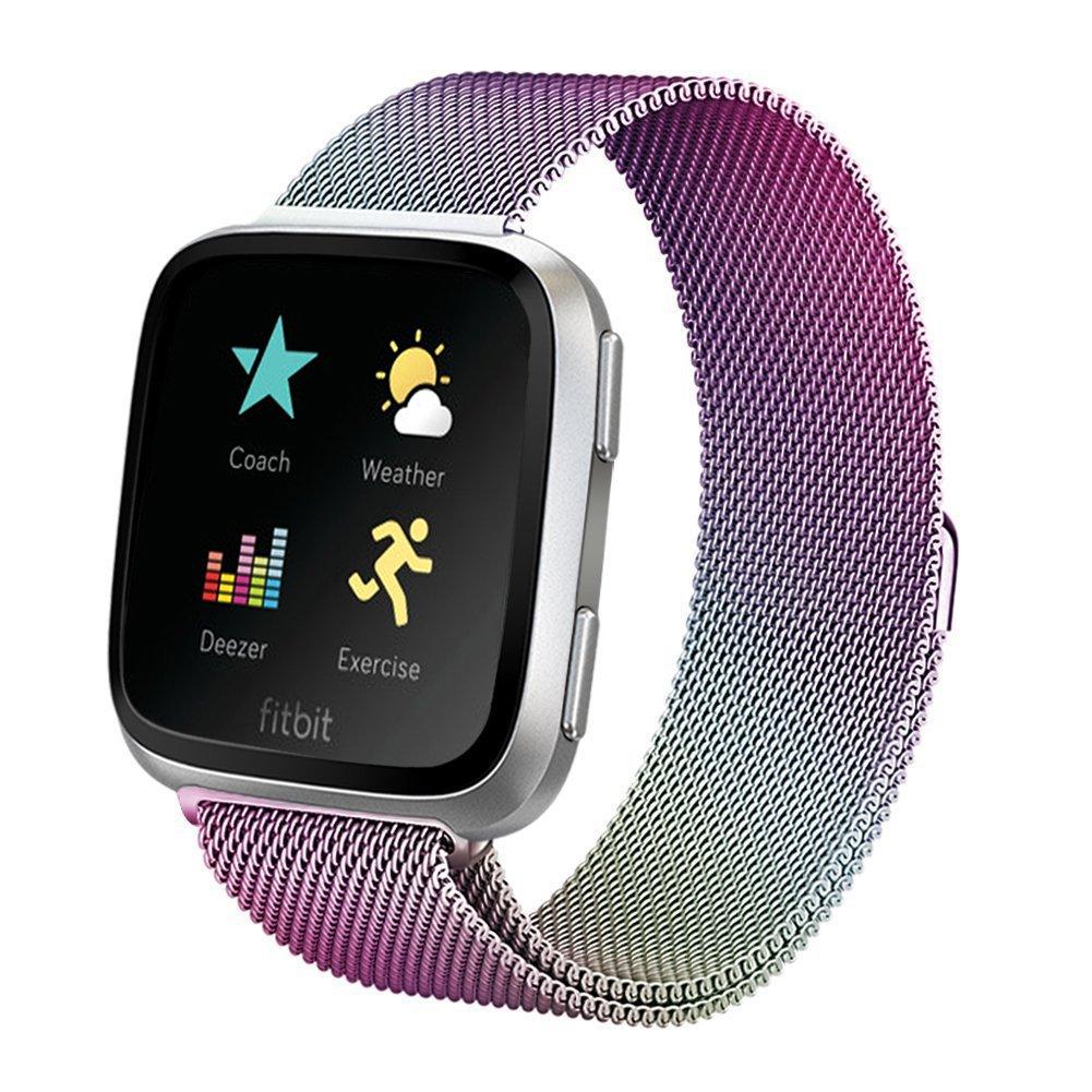 aldeepo Fitbit用Versaバンドレディースメンズ調節可能なMilanese Loopステンレススチールメタリック交換用ブレスレットストラップwithマグネットロックfor Fitbit Versa Smart Watch B07D5CYY16 カラフル Large: 6.5\