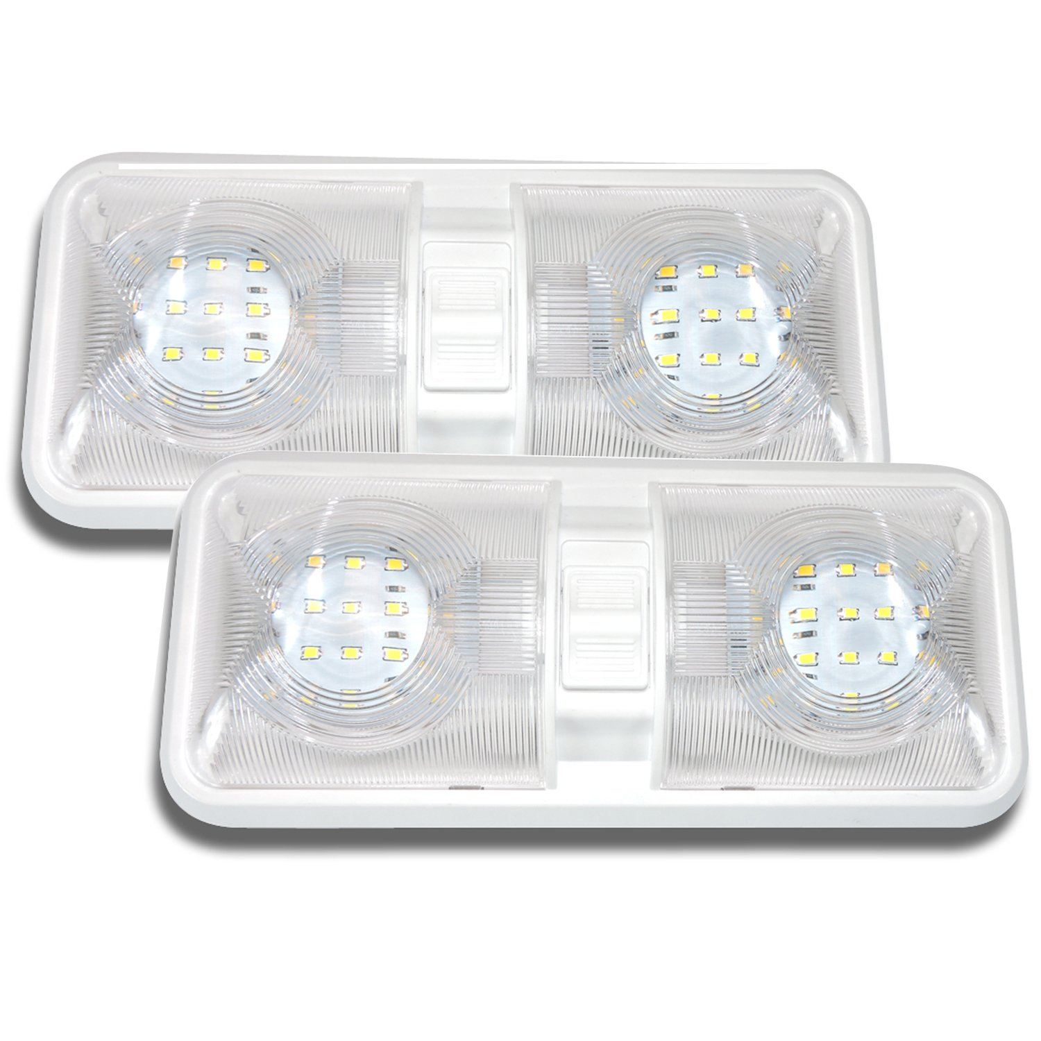 2-Pack Leisure LED RV LED Ceiling Double Dome Light Fixture with Built in Dimmer Interior Lighting for Car//RV//Trailer//Camper//Boat 12V Natural White 4000-4500K 650 Lumen