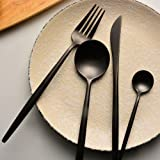 Flatware Set Stainless Steel Black - 2017 MISUNDER Kitchen Utensil Serving Set of Fork Knife and Spoons, Set of 4 Pieces, XH-5305