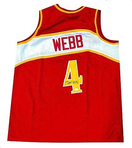 33d69e39375 Spud Webb Signed Jersey - COA Authenticated - Red Atlanta Hawks - JSA  Certified - Autographed