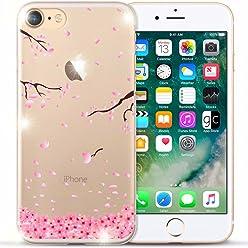 Girlscases® | iPhone 8/7 Hülle | Im Rosenblätter Motiv Muster | in rosa pink | Fashion Case transparente Schutzhülle aus Silikon
