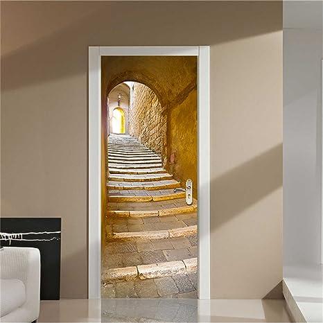 GWELL Türtapete selbstklebend Wasserdicht PVC 77x200cm Abnehmbar TürPoster  Fototapete Holzwand Türaufkleber Wandbild für Tür, Wohnzimmer, ...