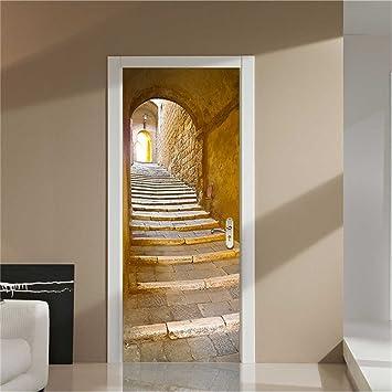 GWELL Türtapete Selbstklebend Wasserdicht PVC 77x200cm Abnehmbar TürPoster  Fototapete Holzwand Türaufkleber Wandbild Für Tür, Wohnzimmer