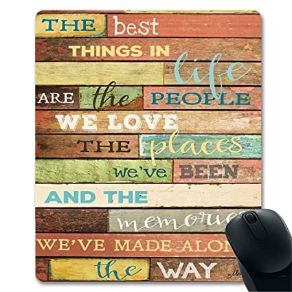 The Best Things In Life Inspirational Quotes Wood Wall Art Print Unique Design Decorative Gaming Mouse Pad