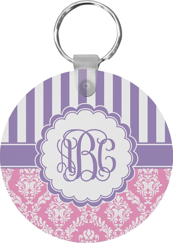 Pink & Purple Damask Round Keychain (Personalized)