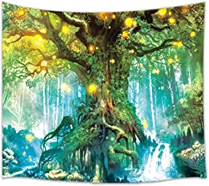 Shocur Dream Forest Tapestry, Tree and Sunshine Nature Landscape Tapestry, Home Decor Wall Hanging Art, Pretty Living Room and Bedroom Design, 51 X 59 Inches with Pins