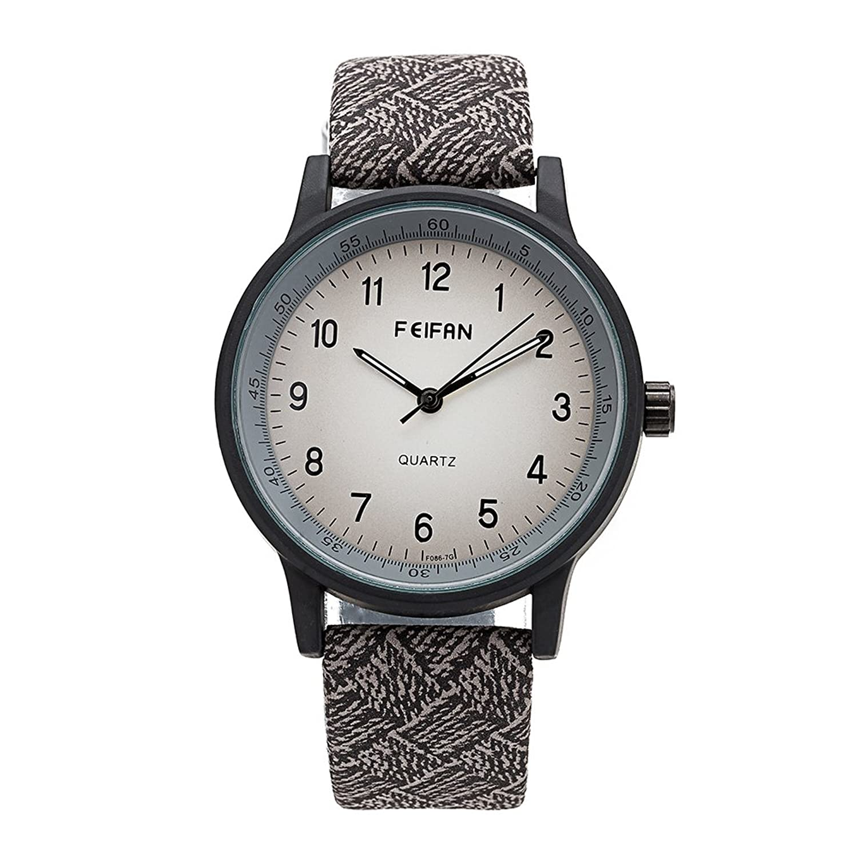 メンズレディース腕時計クォーツ腕時計ファッションラウンドダイヤルFeifan PUレザー時計バンド腕時計のガールズユニセックス腕時計 グレー B01N8TB4IP