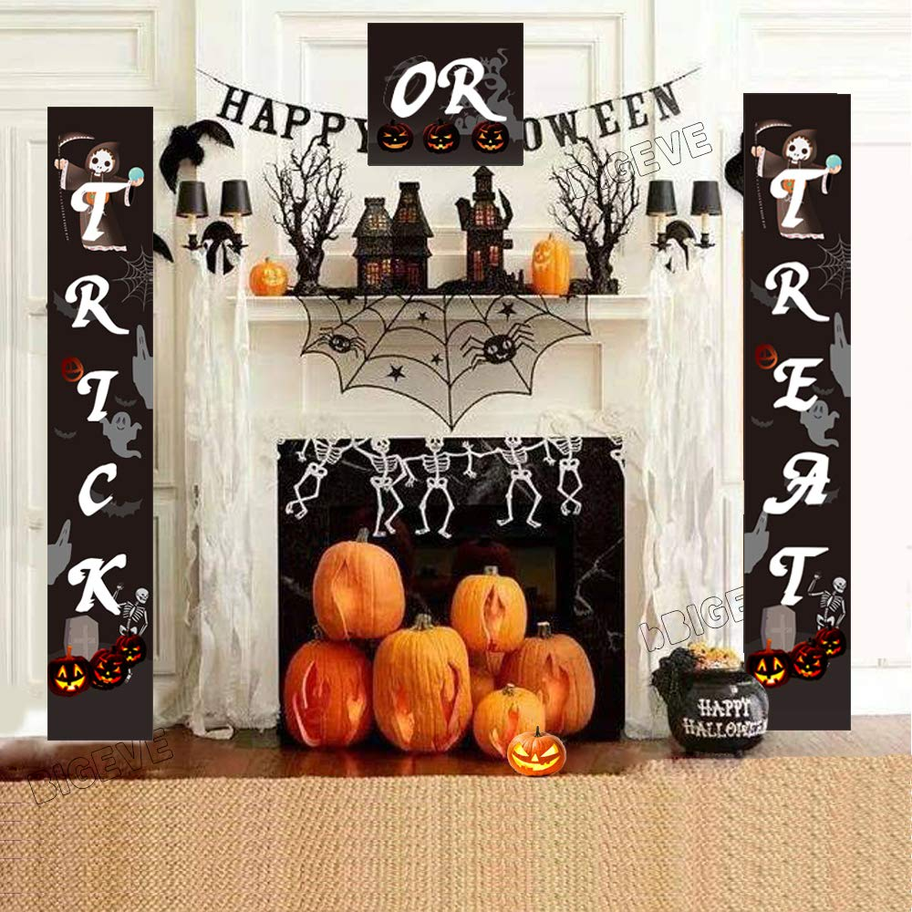 Halloween Decorations, Halloween Outdoor Banners | Trick or Treat Banner Halloween Signs for Front Door Display or Indoor Home Decor | Porch Decorations | Halloween Welcome Signs