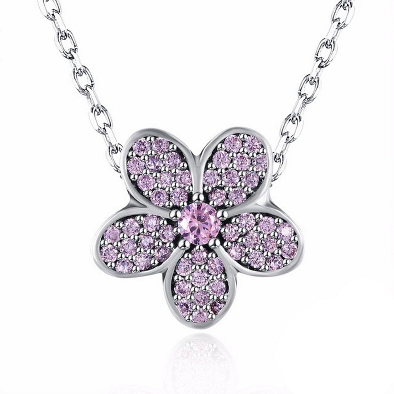 MMC European Light Pink Flower Bead Silver Pendants Necklaces