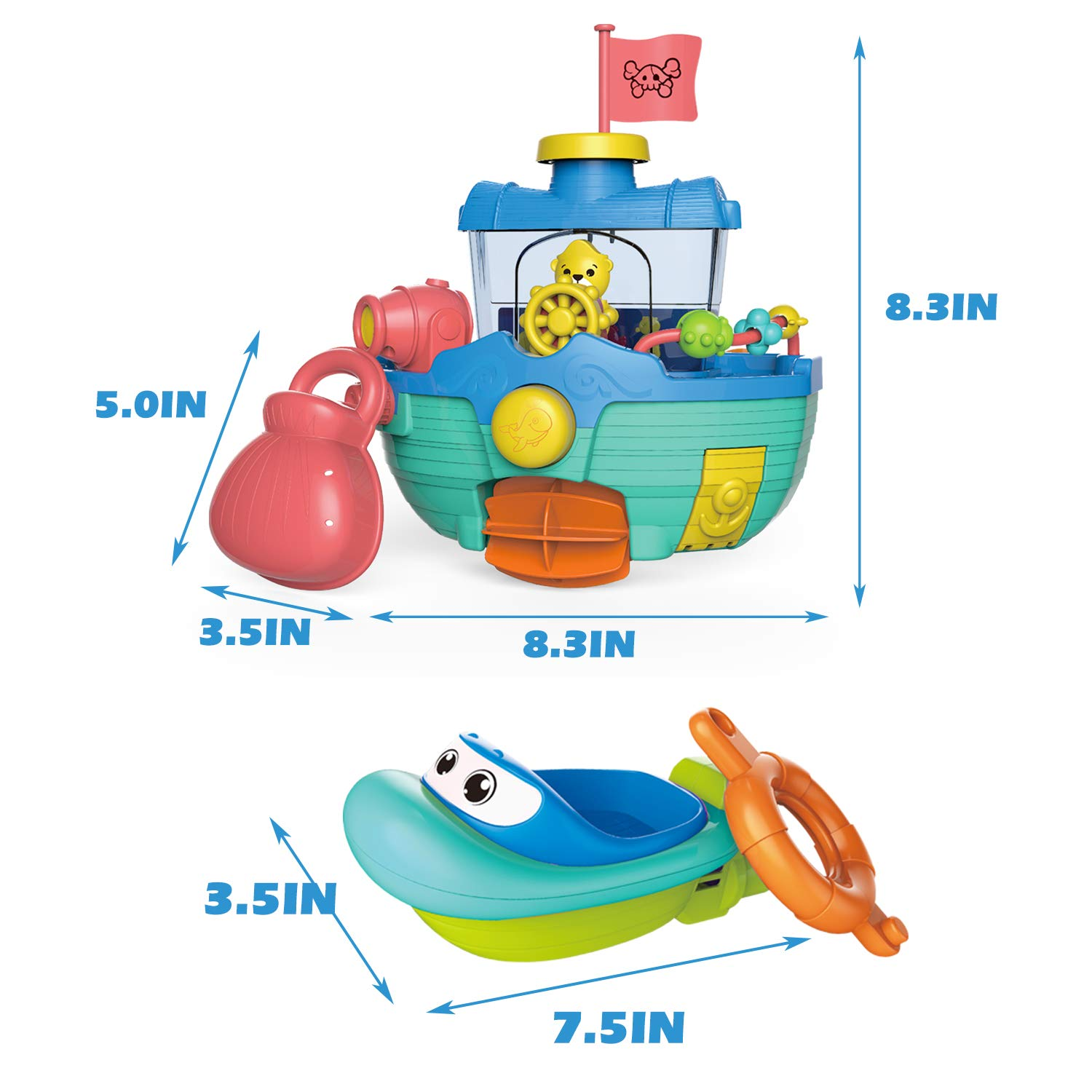 Fun Little Toys Toddler Bath Toy Boats Set Bathtub Water Toys for Boys and Girls 2 Bath Boats for Kids