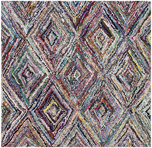Safavieh Nantucket Collection NAN314A Handmade Abstract Geometric Diamond Multicolored Cotton Square Area Rug (4' (Abstract Geometric Diamonds)