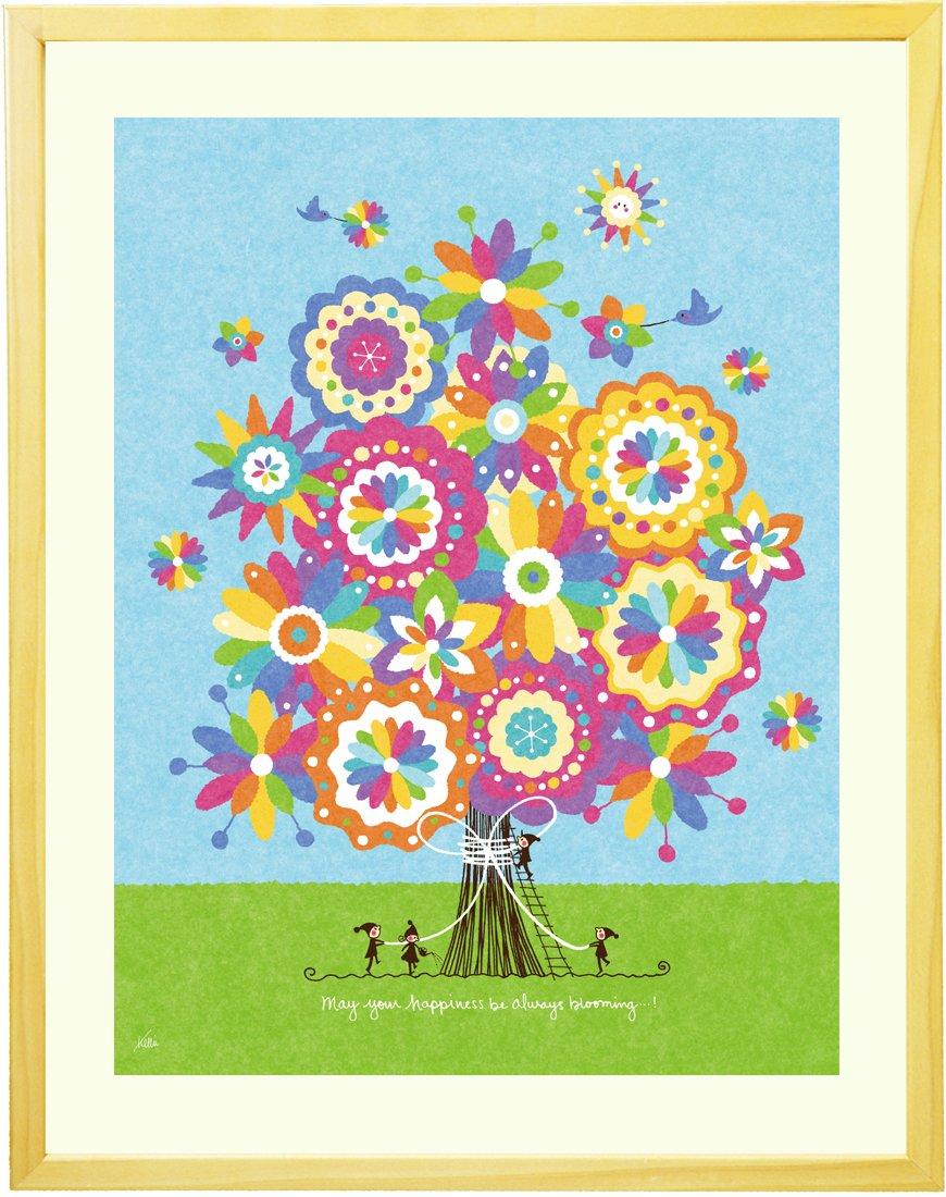 絵画インテリアアート 「幸せの花束(虹色)」 額入りS(270mm×220mm) 小さいサイズ B0130XGI36Sサイズ