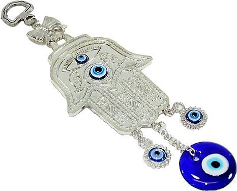 Turkish Blue Evil Eyes Hamsa Hand Themed Amulet Charm Wall Hanging Decor