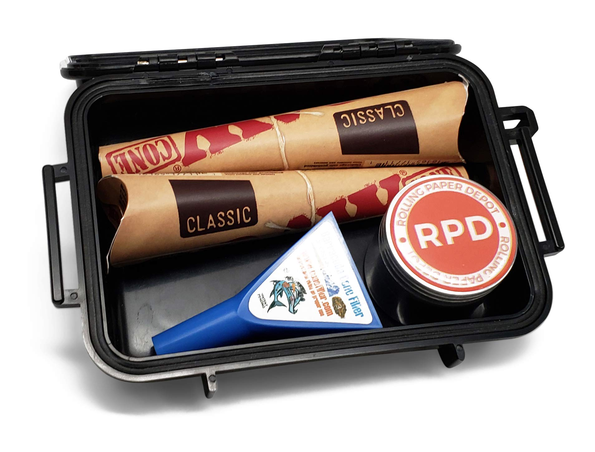 RAW Pre Rolled Cones 1 1/4 (2 Packs of 6) with Leaf Lock Gear Airtight Travel Case, Barracuda Cone Filler and Rolling Paper Depot 42mm Grinder - 5 Item Bundle