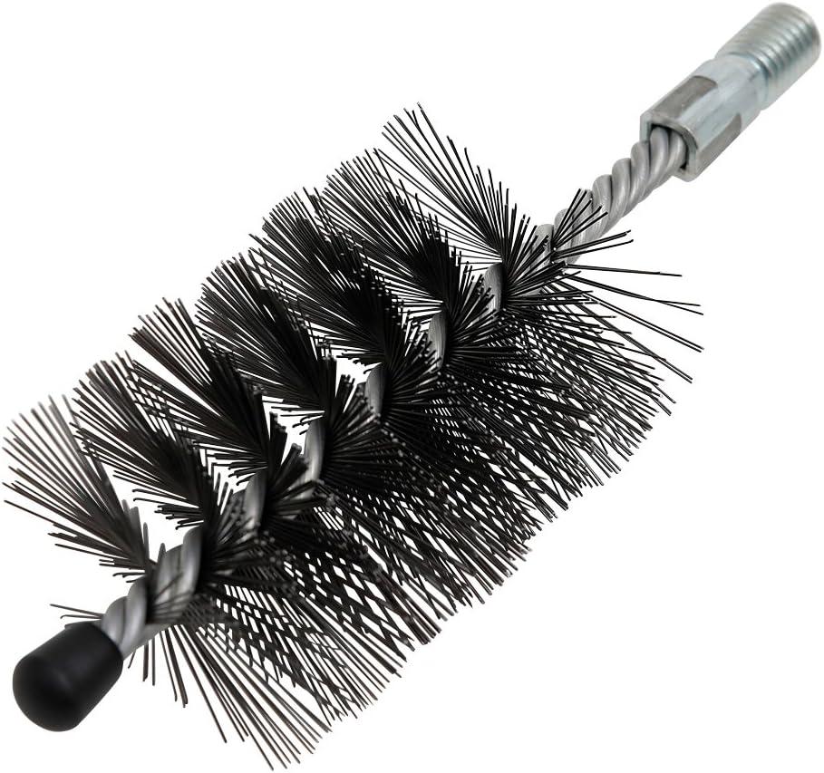 Kamino - Flam – Cepillo para limpiar estufas, hornos de leña, chimeneas, tubos de chimeneas (Ø 80 mm, con arandela roscada M12) – acero