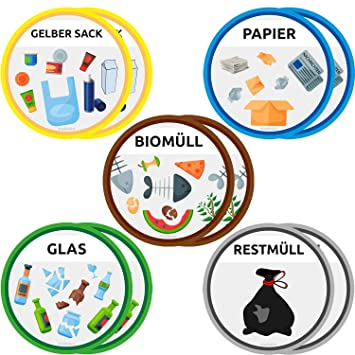 Trashnice Mülltonnenaufkleber 10 Mülltrennung Aufkleber Set Für