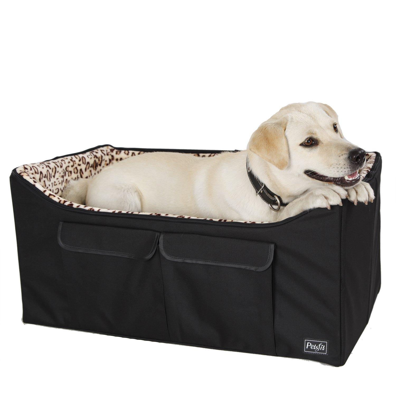 Petsfit Dog Car Seat for Medium Dog up to 45 Pounds Large Dog Car Seat, with Big Pockets (Black) 29.5'' Lx15.7 Wx13.4 H