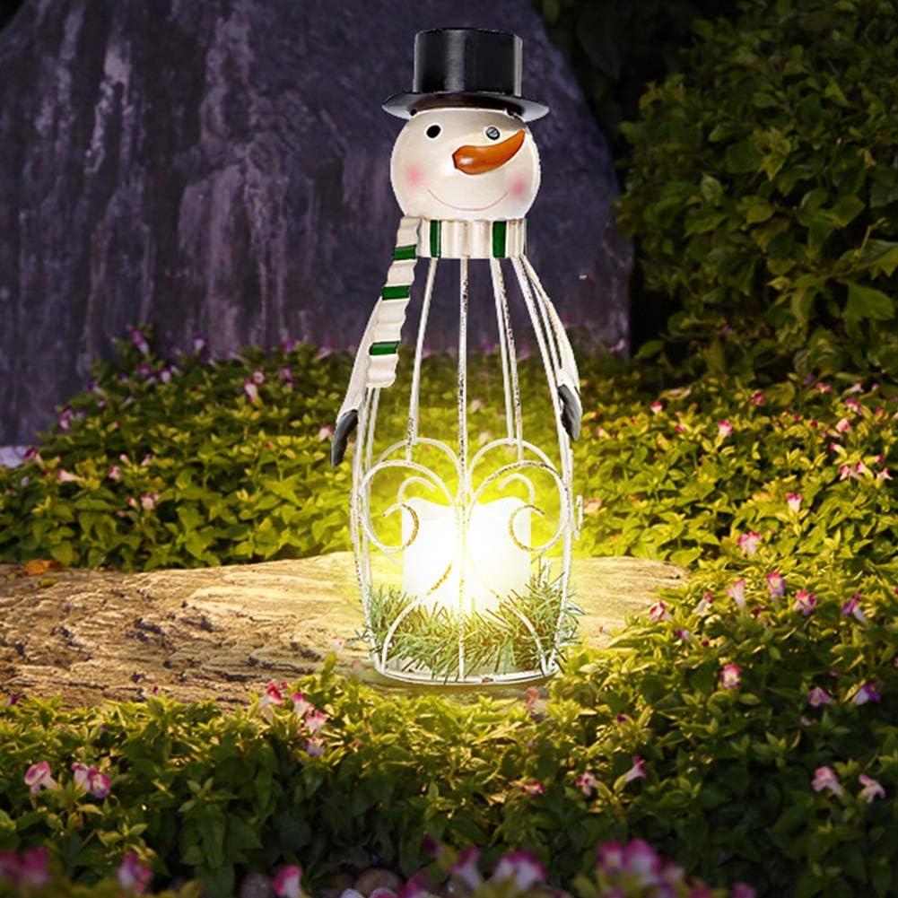 AIBAB Luces LED Solares del Muñeco De Nieve De La Navidad Jardín De Hierro Forjado Iluminación Exterior Decoracion Jardin 2 Piezas: Amazon.es: Jardín