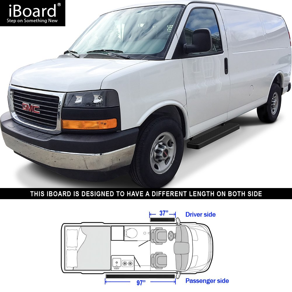 Nerf Bars Side Steps Step Bars Compatible with 2003-2019 Chevy Express GMC Savana 1500 2500 3500 Full Size Van APS iBoard Running Boards Silver Powder Coated 5 inches