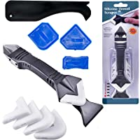 3 in 1 Silicone Caulking Tools(stainless steelhead), Sealant Finishing Tool Grout Scraper, Reuse and Replace 5 Silicone Pads, Great Tools for Kitchen Bathroom Window, Sink Joint