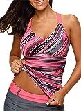 Aleumdr Womens Printed Strappy Racerback Tankini Swim Top No Bottom S - XXXL
